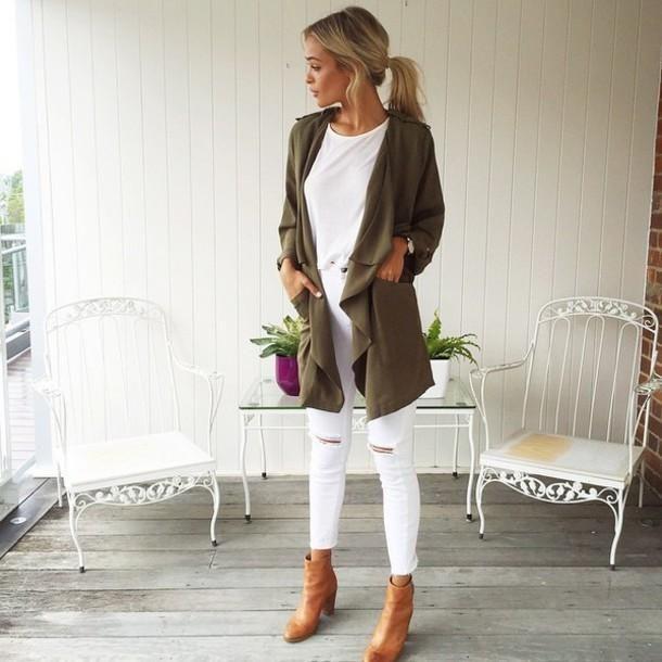 pantalon blanc top blanc manteau kaki outfit&......