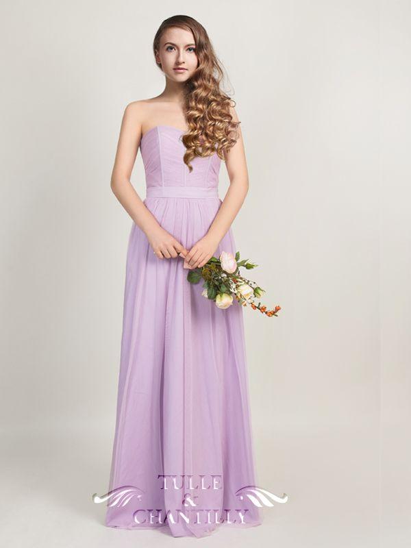 Long Strapless Pastel Light Purple Tulle Bridesmaid Dress [TBQP315 ...