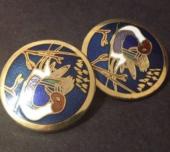 Estate Find - Vintage Cloisonne Enamel Clip on Earrings with Ducks in a Lake