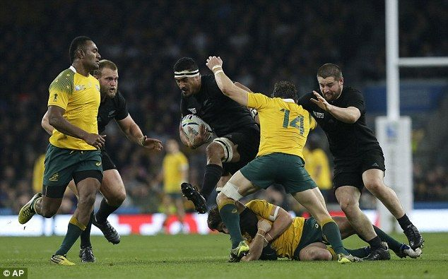 Jerome Kaino (centre) looks to drive through the Australia defence and set-up an attack
