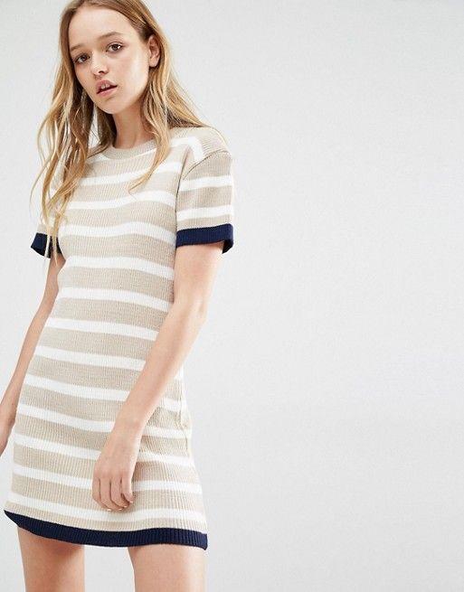 Daisy Street | Вязаное платье‑футболка в полоску Daisy Street