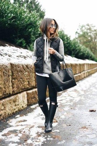 Cómo combinar una sudadera con capucha gris oscuro con unas botas ...
