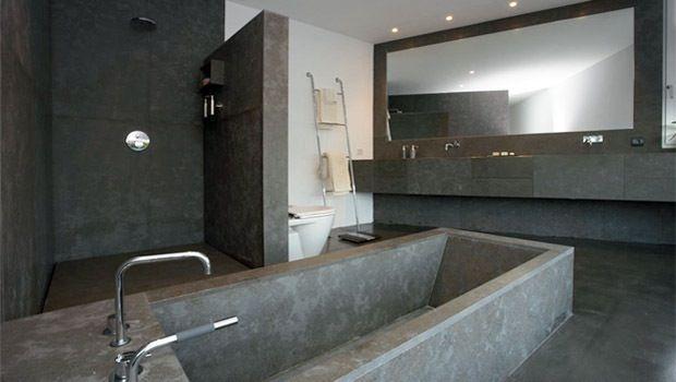 Hou je van strak en modern dan is zo 39 n badkamer wellicht iets voor jou het interieur bestaat - Interieur moderne inspirant piliers en beton ...