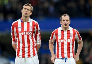 Peter Crouch and Charlie Adam of Stoke City before the match against Chelsea. Chelsea won 4-2.