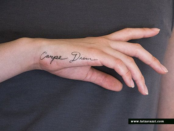 Carpe Diem Latin Calligraphy Cursive Fake Temporary by Tatzarazzi