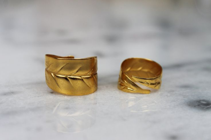 Ring/chevalier ring/handmade/bronze/gold-plated/24 carats/olive leaves by CrownedCharm on Etsy