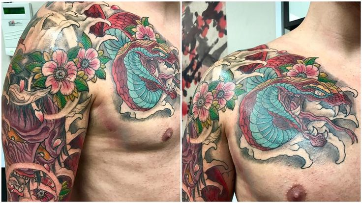 Japanese cover up by Nathan #devilsowntattoos #devilsown #leicester #leicestertattoos #tattoo #japanesetattoo #coverup #coveruptattoo #colourtattoo