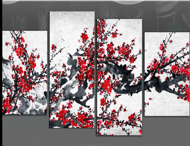 Red blossom tree Extra large canvas wall art on black grey white 60 inch