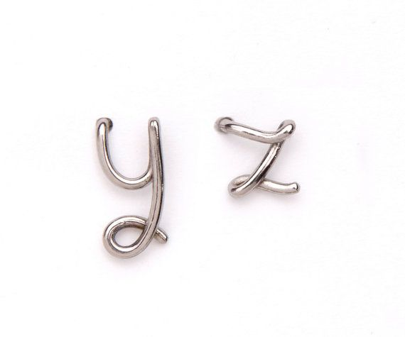 Custom initial jewelryy letter zstud post earrings by largentolab