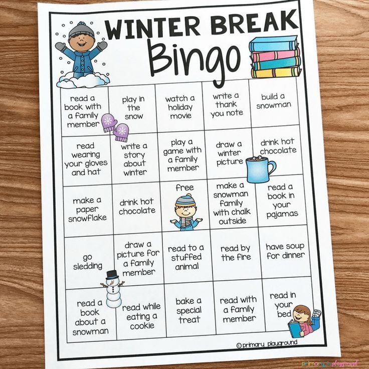 Things To Do Over Christmas Break 2020 Free Printable Winter Break Bingo   Primary Playground | Winter