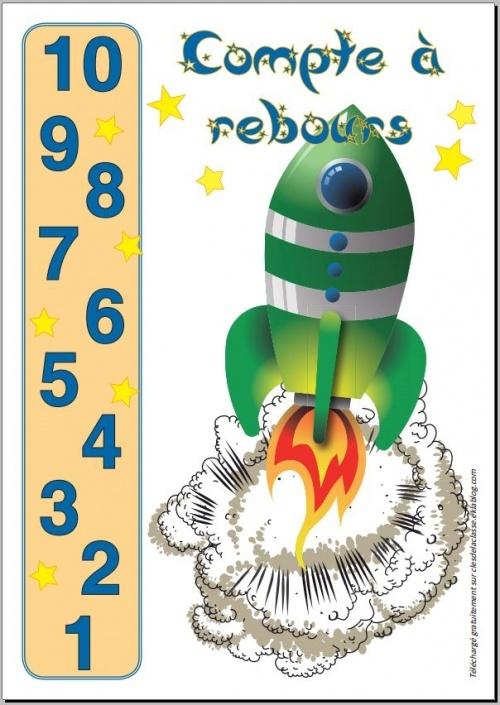 Rituel du compte à rebours il faut : 1)fixer un chiffre avant que la fusée ne décolle  2) préparer sa fusée : joindre les 2 mains à hauteur du ventre  3) monter au fur et à mesure qu'on compte 4)jusqu'à décoller la fusée au chiffre fixé au départ   5)la laisser partir comme si elle sortait des mains jointes  c'est trop top pour intéresser les enfants!!