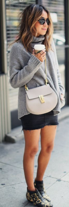 Julie Sarinana + cozy, modern outfit + fashionable and simplistic + Mini skirts + cool alternative + skinny jeans + show off your legs + stylish but casual way.  Mini skirt: Current/Elliott, Top: Aritzia, Purse: Chloe, Shoes: Chloe, Sunglasses: Illesteva