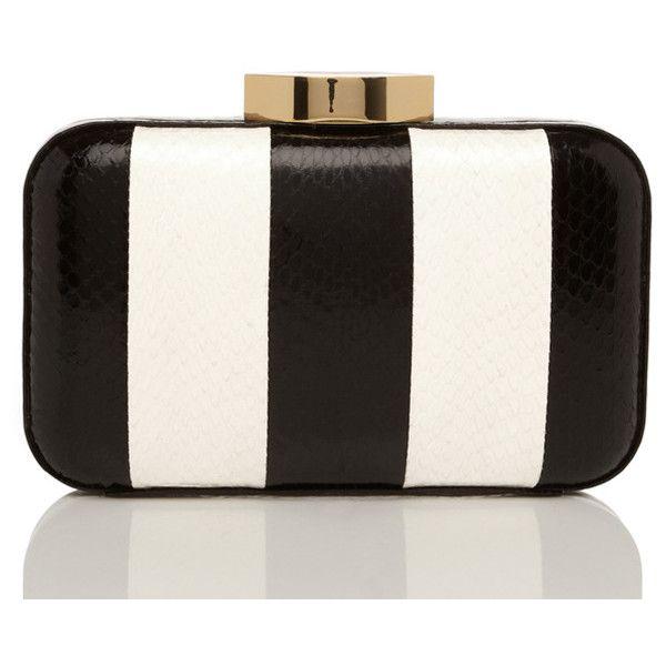 Black And White Stripe Snakeskin Fifi Clutch