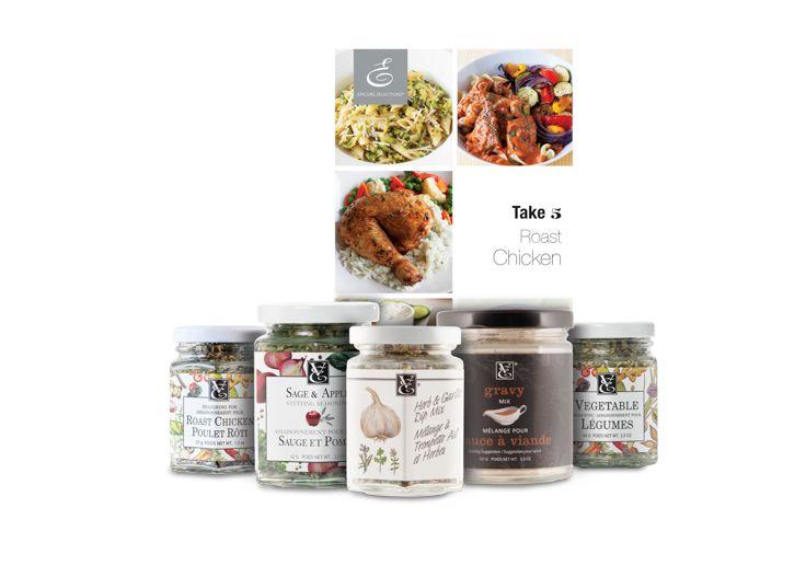 Take 5 Roast Chicken Bundle — featuring Seasoning for Roast Chicken, Sage & Apple Stuffing Seasoning, Herb & Garlic Dip Mix, Gravy Mix, Vegetable Seasoning and a recipe booklet.