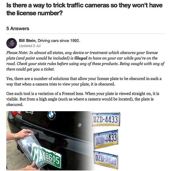 Anti traffic camera license plate camera cover that protects