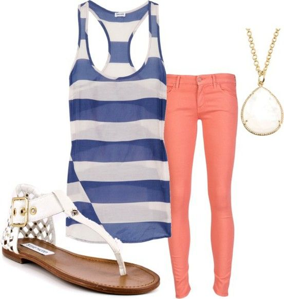 love the color comboColors Combos, Fashion, Coral Pants, Summer Looks, Summer Outfit, Clothing, Summer Style, Spring Summe, Dreams Closets