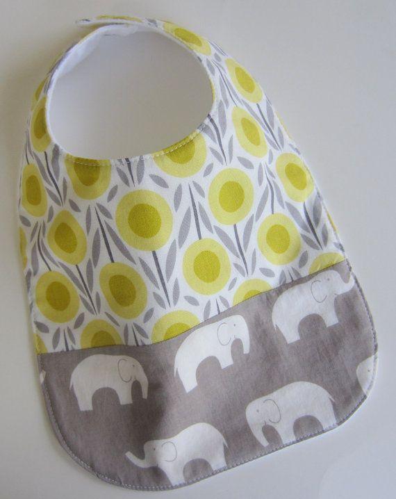 ORGANIC Baby Bibs - Elephant Grey Yellow Bib / Babiease Baby Boutique / Custom Baby Gift Sets