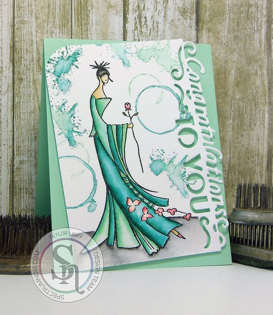 Congratulations To You using #Kimono stamps & Die'sire dies from @crafterscompus / @crafterscompuk + #spectrumaqua from @spectrumnoir #spectrumnoir