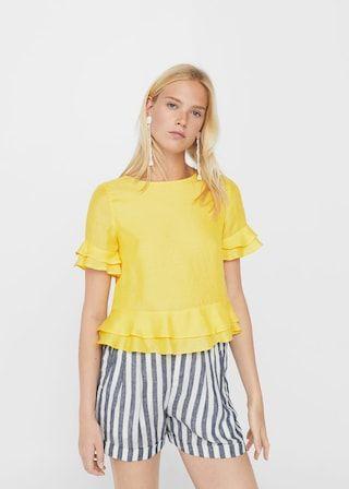 Blusa volante decorativo - Camisas de Mujer | MANGO España