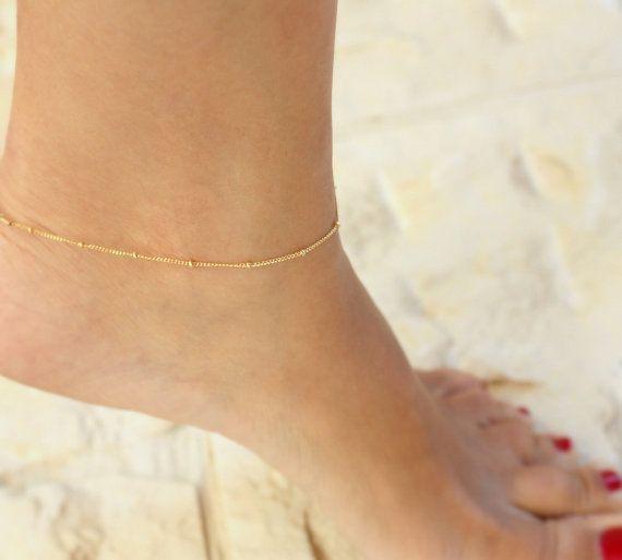 Delicate Gold Anklet - Anklet, ankle bracelet,Satellite,Simple Delicate Anklet,gold ankle bracelet,delicate anklet via Etsy