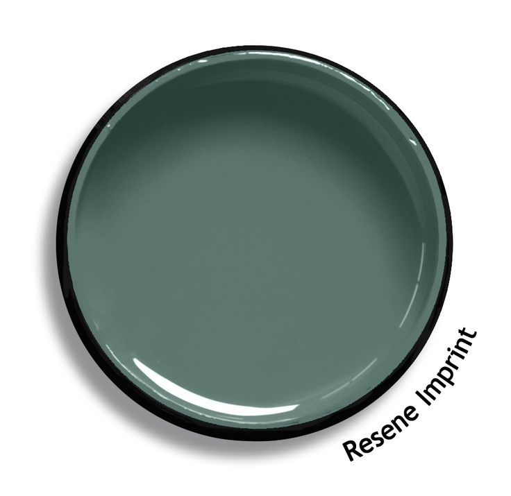 Resene Imprint is a shadow of cool green edged with blue and grey, very precise and indelible. Try Resene Imprint with blue berry reds, green gold off-whites or violet blues such as Resene Shiraz, Resene Half Secrets or Resene True Blue. From the Resene The Range fashion colours. Latest trends available from www.resene.co.nz. Try a Resene testpot or view a physical sample at your Resene ColorShop or Reseller before making your final colour choice.