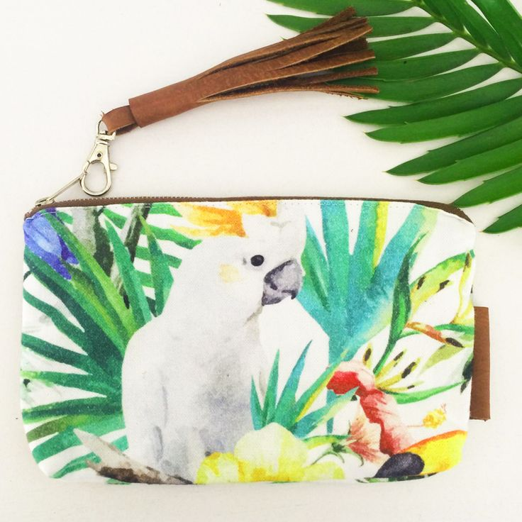 TROPIC ACCESSORY BAG  This versatile case creates order within your bag for all kinds of odds and ends.  Cosmetics, pens and pencils, money, spectacles and so much more.  Personalized Gift. Bridesmaid gift. Makeup Bag. Travel Pouch. Pencil Case. Coin Purse.  The possibilities are endless with this beauty.  Comes with a matching leather tassle clip.  Approximately 20cm X 14cm