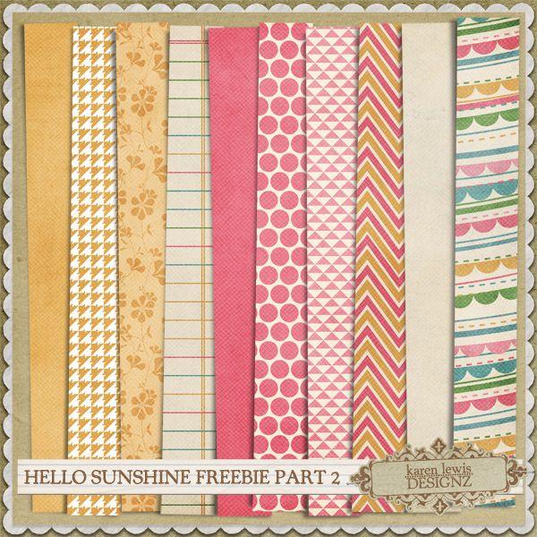 Free Hello Sunshine Paper Pack from Karen Lewis