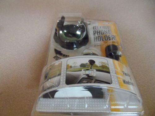 PHONE HOLDER. FLEXIBLE. . DASH OR WINDSHIELD IN AUTOMBILE. ROTATES. NEW IN PKG