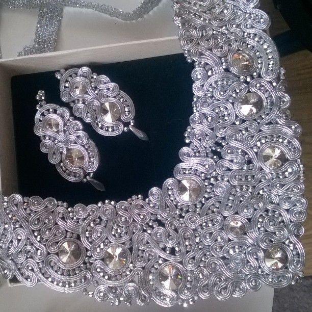 #wedding #soutache #sutasz #naszyjnik #kolczyki #earrings #necklace #weddindjewelry #fashion #queen #star #celebrity #czerwony_dywan #gala_Oskarów #Silver #look_like_a_million_dollars