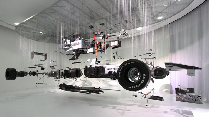 Mercedes unscrewed last year's F1 car - all 3,200 components - and then let Dutch artist Paul Veroude hang each piece by wire to showcase exactly what tech is stuffed in a modern F1 car.
