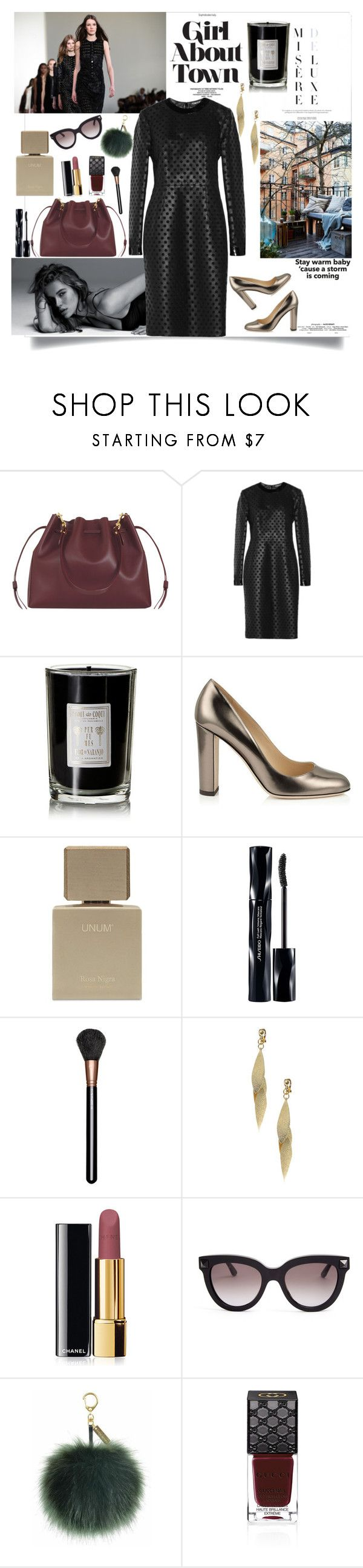 """Stay..."" by carlamar ❤ liked on Polyvore featuring Sophie Hulme, Mercedes-Benz, Tom Ford, Coqui Coqui, Jimmy Choo, Shiseido, MAC Cosmetics, Chanel, Valentino and Gucci"