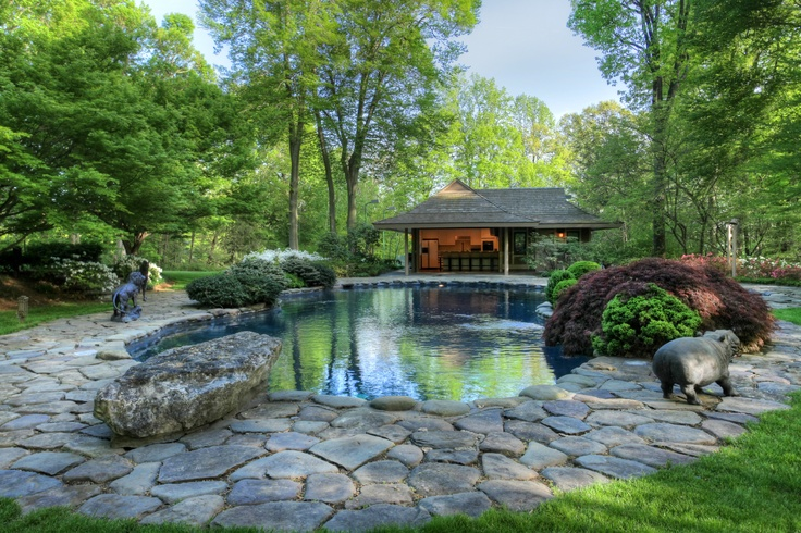 The lagoon style pool woodland zen retreat 1984 custom for Zen pool design