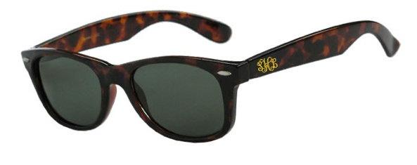 Monogrammed or Greek Letter Wayfarer Sunglasses. $35.00, via Etsy.