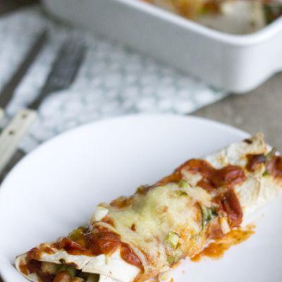 Enchilada met kip en sperziebonen
