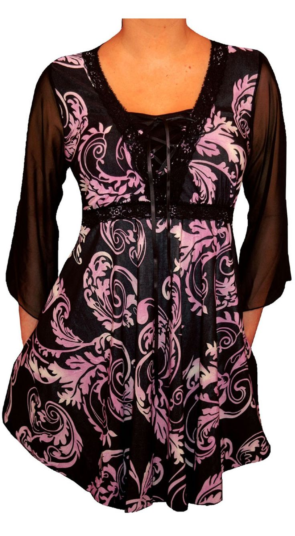 Funfash Plus Size Corset Style Black Purple Womens Top