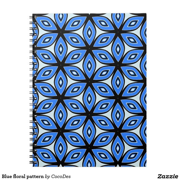 Blue floral pattern spiral #notebook #zazzle http://www.zazzle.com/blue_floral_pattern_spiral_notebook-130870748742334684