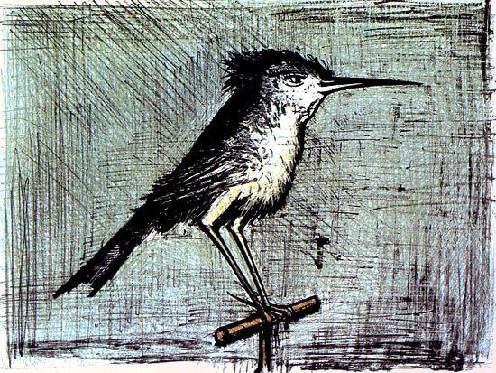 Bernard Buffet - Le petit oiseau - 1964 lithograph - 54 x 73.5 cm - ©ADAGP