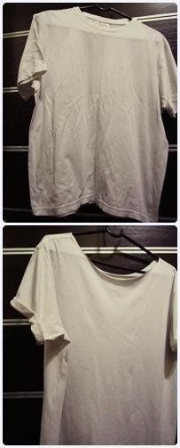 Cut waistband and sleeves rolled up (pierced the lanyard). Now just paint and to work: D #diy #tshirt #t-shirts