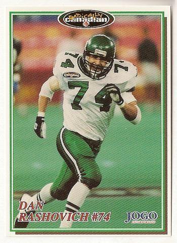 Dan Rashovich CFL card 1997 Jogo #85 Saskatchewan Roughriders Simon Fraser Clansmen