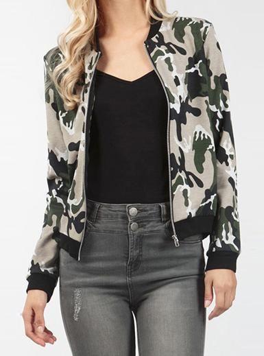 Women's Short Camo Jacket - White / Green / Black Print