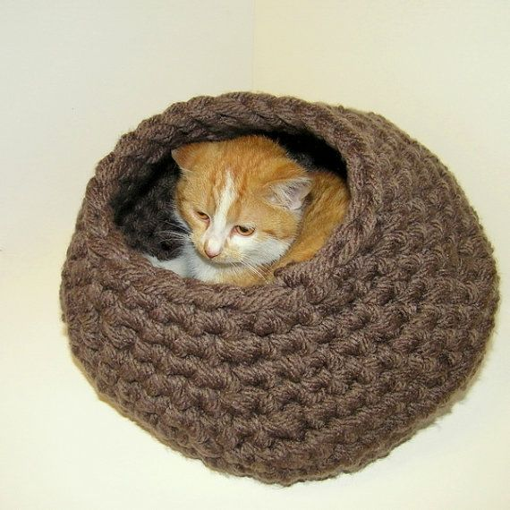 Free Crochet Patterns For Cat Houses : Cat Nap Cat Cocoon Cat Cave Cat Bed Cat House - Crochet ...