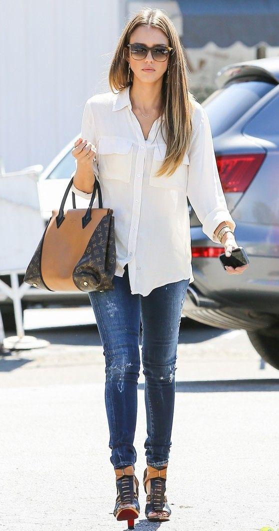 Jessica Alba Style Jeans White Style Inspo Mainly Jess Alba Pinterest Pants Style