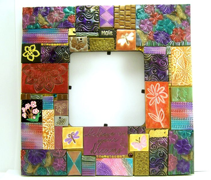 Mixed Midea Mosaic Picture Frame, Flower Frame, Home Decor, Clay Tile Art Frame, Handmade Frame by BobblesByCarol on Etsy