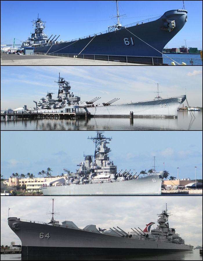 US Navy Iowa Class battleships as the appear today (museum ships): USS Iowa, USS New Jersey, USS Missouri and USS Wisonsin