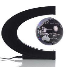 Enfeites de Mesa De Escritório criativo Em Forma de C levitação Magnética Globo Artes e Ofícios Anti-Gravidade Globo Artesanato Com luzes LED BS(China (Mainland))