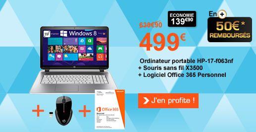 Pc Portable Boulanger promo ordinateur pas cher, Ordinateur portable HP 17-f063nf prix promo Boulanger 499.00 € TTC au lieu de 638.90 €