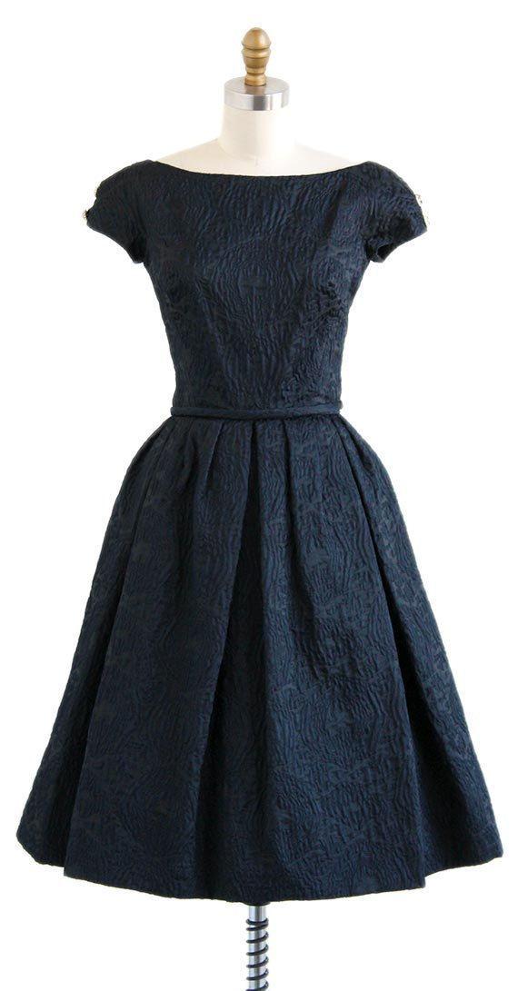 vintage 1950s black silk jacquard evening dress   vintage 50s dresses