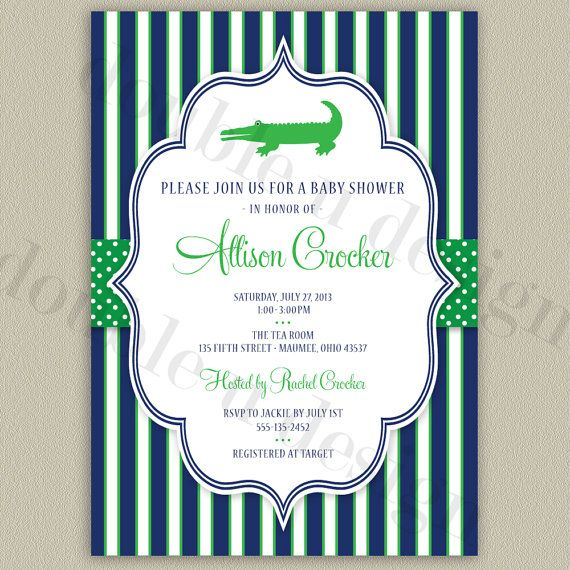 Alligator Baby Shower Invitation by double u design on etsy