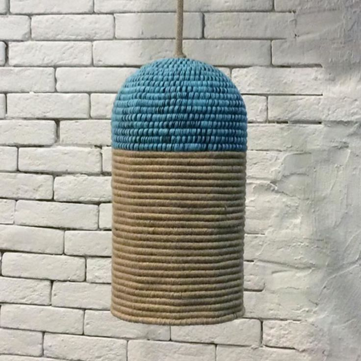 Caribbean Long ceiling lamp knitted with 3 types-colors of cord. It is made in Greece and can be customed in all types of colors,shapes or sizes for contract and/or minimul order quantity 10 pieces.€217