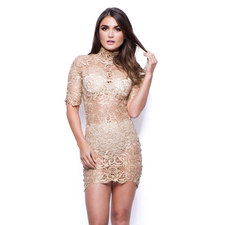 Sexy Ladies Gold Lace Mini Dress with Short Sleeves - Main Image